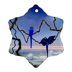 Wonderful Blue  Parrot Looking To The Ocean Snowflake Ornament (two Sides)