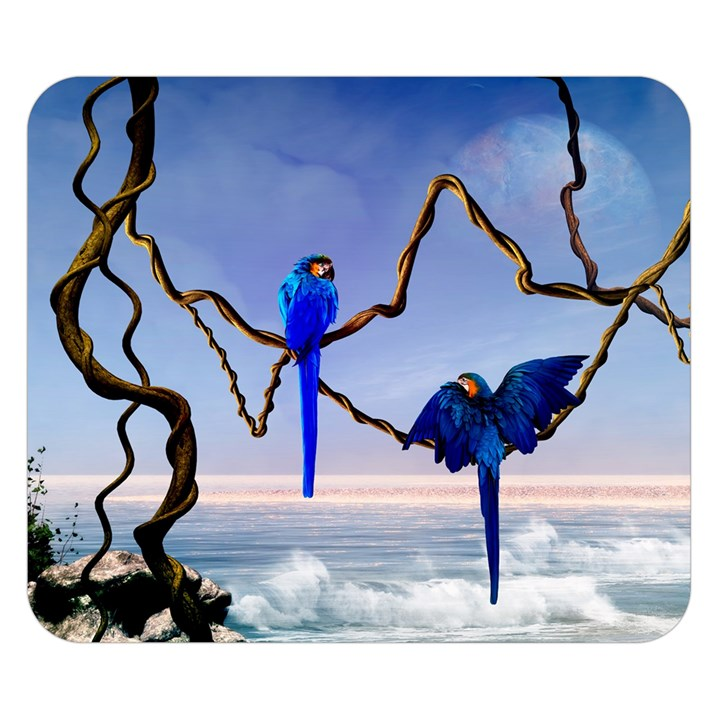 Wonderful Blue  Parrot Looking To The Ocean Double Sided Flano Blanket (Small)