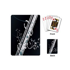 Line Light Leaf Flower Floral Black White Beauty Polka Playing Cards (mini)