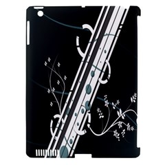 Line Light Leaf Flower Floral Black White Beauty Polka Apple Ipad 3/4 Hardshell Case (compatible With Smart Cover)
