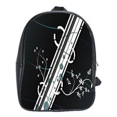 Line Light Leaf Flower Floral Black White Beauty Polka School Bag (xl)