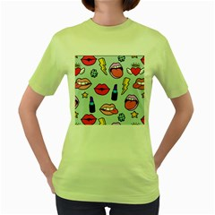 Lipstick Lips Heart Valentine Star Lightning Beauty Sexy Women s Green T Shirt
