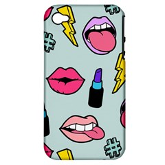 Lipstick Lips Heart Valentine Star Lightning Beauty Sexy Apple Iphone 4/4s Hardshell Case (pc+silicone)