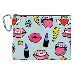 Lipstick Lips Heart Valentine Star Lightning Beauty Sexy Canvas Cosmetic Bag (xxl)
