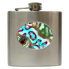 Multiscale Turing Pattern Recursive Coupled Stone Rainbow Hip Flask (6 Oz)