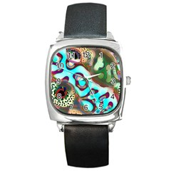 Multiscale Turing Pattern Recursive Coupled Stone Rainbow Square Metal Watch