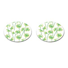 Marimekko Fabric Flower Floral Leaf Cufflinks (oval)