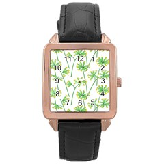 Marimekko Fabric Flower Floral Leaf Rose Gold Leather Watch