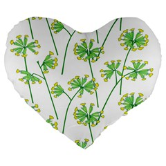 Marimekko Fabric Flower Floral Leaf Large 19  Premium Flano Heart Shape Cushions