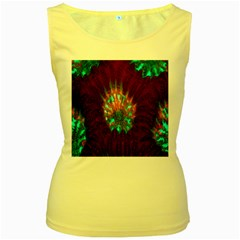 Live Green Brain Goniastrea Underwater Corals Consist Small Women s Yellow Tank Top
