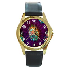 Live Green Brain Goniastrea Underwater Corals Consist Small Round Gold Metal Watch