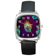 Live Green Brain Goniastrea Underwater Corals Consist Small Square Metal Watch