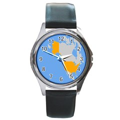 Map Transform World Round Metal Watch