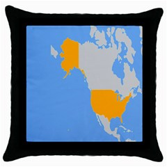 Map Transform World Throw Pillow Case (black)