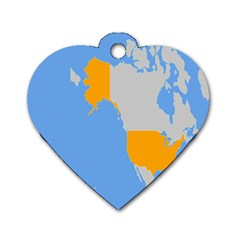 Map Transform World Dog Tag Heart (two Sides)
