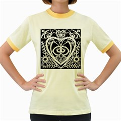 Paper Cut Butterflies Black White Women s Fitted Ringer T Shirts