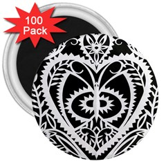Paper Cut Butterflies Black White 3  Magnets (100 Pack)