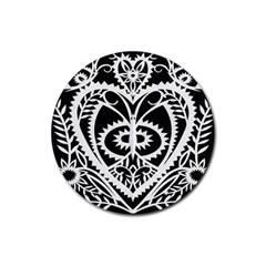 Paper Cut Butterflies Black White Rubber Coaster (round)