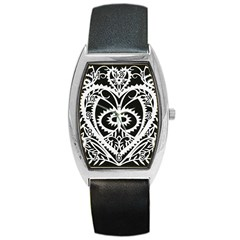 Paper Cut Butterflies Black White Barrel Style Metal Watch