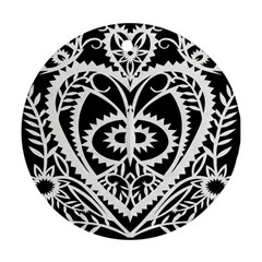 Paper Cut Butterflies Black White Round Ornament (two Sides)