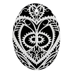 Paper Cut Butterflies Black White Oval Ornament (two Sides)