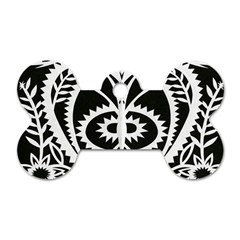Paper Cut Butterflies Black White Dog Tag Bone (one Side)