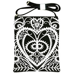 Paper Cut Butterflies Black White Shoulder Sling Bags