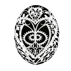 Paper Cut Butterflies Black White Ornament (oval Filigree)