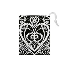 Paper Cut Butterflies Black White Drawstring Pouches (small)