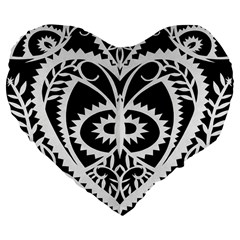 Paper Cut Butterflies Black White Large 19  Premium Flano Heart Shape Cushions