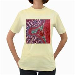 Natural Stone Red Blue Space Explore Medical Illustration Alternative Women s Yellow T Shirt