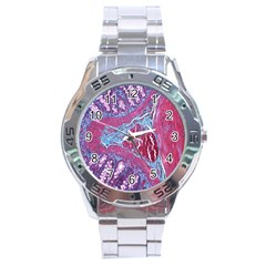 Natural Stone Red Blue Space Explore Medical Illustration Alternative Stainless Steel Analogue Watch