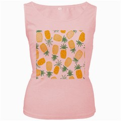 Pineapple Fruite Seamless Pattern Women s Pink Tank Top