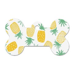 Pineapple Fruite Seamless Pattern Dog Tag Bone (two Sides)