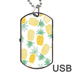 Pineapple Fruite Seamless Pattern Dog Tag Usb Flash (one Side)