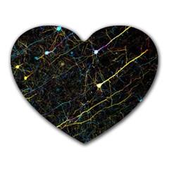 Neurons Light Neon Net Heart Mousepads
