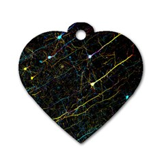 Neurons Light Neon Net Dog Tag Heart (two Sides)