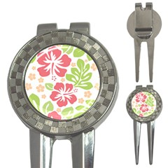 Hibiscus Pattern Pink 3 In 1 Golf Divots