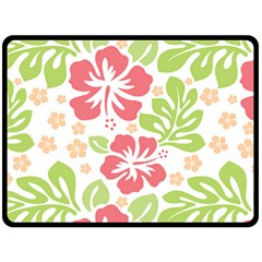 Hibiscus Pattern Pink Fleece Blanket (large)
