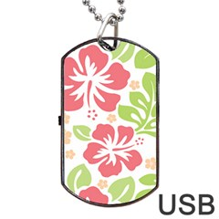 Hibiscus Pattern Pink Dog Tag Usb Flash (two Sides)