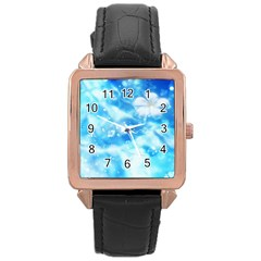 Liquid Blue Rose Gold Leather Watch