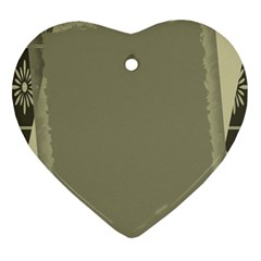 Moss Green Abstract Heart Ornament (two Sides)
