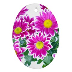 Pink White Flowers Ornament (oval)