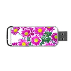 Pink White Flowers Portable Usb Flash (two Sides)