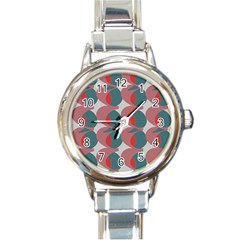 Pink Red Grey Three Art Round Italian Charm Watch