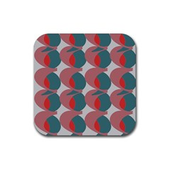 Pink Red Grey Three Art Rubber Square Coaster (4 Pack)