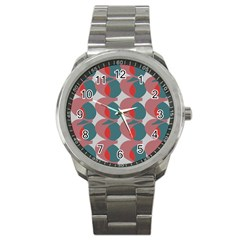 Pink Red Grey Three Art Sport Metal Watch