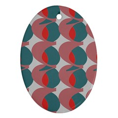 Pink Red Grey Three Art Oval Ornament (two Sides)