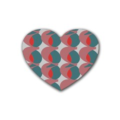 Pink Red Grey Three Art Heart Coaster (4 Pack)