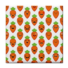 Seamless Background Carrots Emotions Illustration Face Smile Cry Cute Orange Tile Coasters